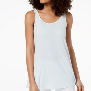 Eileen Fisher Silk Stretch Sleeveless Tunic Top L